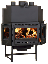 23055382 Wkład kominkowy 20kW z płaszczem wodnym + doprowadzenie ciepłego powietrza (3 szyby)