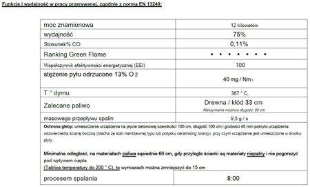 BINIKTA Piec wolnostojący Invicta 12kW Sedan L (kolor: emalia kość słoniowa) - spełnia anty-smogowy EkoProjekt 86829189