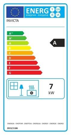 BINIKTA Piec wolnostojący Invicta 7kW Seville (wylot spalin: góra, kolor: emalia czerwona) - spełnia anty-smogowy EkoProjekt 86865696