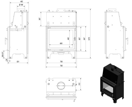 DOSTAWA GRATIS! 30041189 Wkład kominkowy 14kW AQUARIO A18 PW z płaszczem wodnym, wężownicą (szyba prosta) - spełnia anty-smogowy EkoProjekt