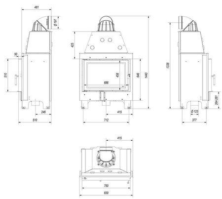 DOSTAWA GRATIS! 30046772 Wkład kominkowy 15kW MBO (szyba prosta) - spełnia anty-smogowy EkoProjekt