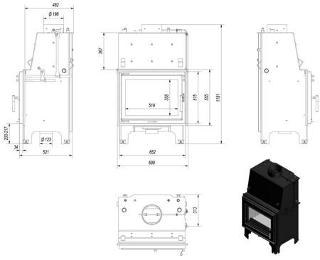 DOSTAWA GRATIS! 30046804 Wkład kominkowy 9kW AQUARIO Z10 PW z płaszczem wodnym, wężownicą (szyba prosta) - spełnia anty-smogowy EkoProjekt