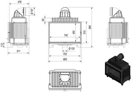 KONS Wkład kominkowy 14kW Franek (szyba prosta) - spełnia anty-smogowy EkoProjekt 30055009