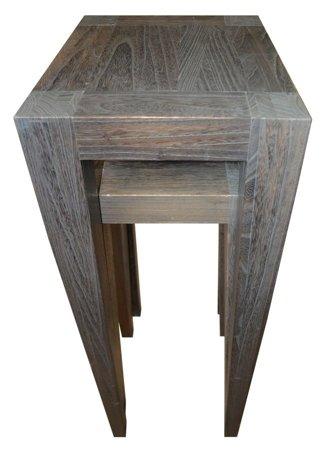 Komplet 2 stołów ciemnych wysokich 52969122